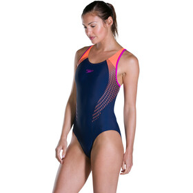speedo Fit Laneback Swimsuit Women Navy 34/Fluo Orange/Diva